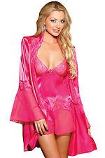 Hot Pink Satin Lace Robe Babydoll Set Valentine's Lingerie 21928