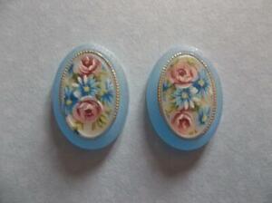 Vintage Cameos 25X18mm Floral Cabochons Rose Matte Blue Crystal Base German 2pcs