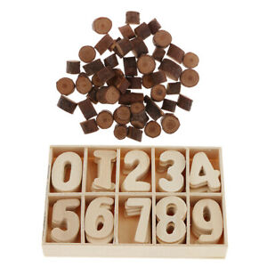 50pcs Wood Log Slices Tree Bark and 60pcs Wooden 1-9 Numbers Wooden Shapes