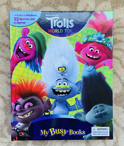 Dreamworks Trolls My Busy Books 10 Figurines, A Storybook and A PlayMat - New