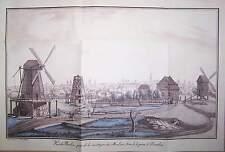 Blick vom Windmühlenberg auf Berlin 1849 kolorierter Kupferstich Stich Graphik
