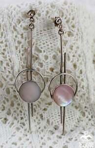Art Deco Sterling Silver & Mother of Pearl Dangle Long Earrings w/Push Backs