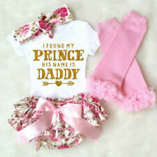 4PC Newborn Baby Girls Clothes Daddy's Princess Romper +Tutu Pants Dress Outfits