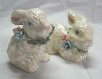 Lusterware set of 2 ceramic bunny rabbits figurines white spaghetti collars