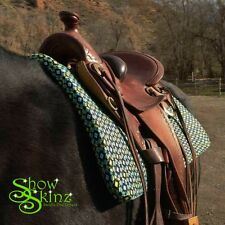 Show Skinz Saddle Pad Covers-Lime Green Pattern