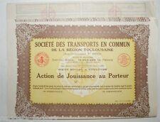 Action de jouissance : Sté des transports en commun de Toulouse F.Pons ( 612 )
