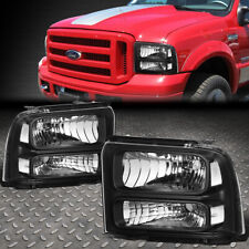 For 05-07 Ford F250 F350 Super Duty Black Housing Clear Corner Headlight Lamps