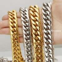 """16/20mm Huge Stainless Steel Silver/Gold Curb Cuban Chains Men's Necklace 7""""-40"""""""
