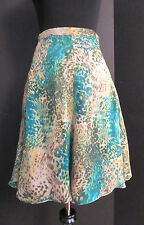 """Item of Clothing"" Sheer Silk Chiffon w/Watercolor Print Over Lining Skirt, Sz 8"