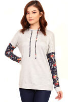 FIRST LOOK Womens Grey Chic Floral Long Sleeves Hooded Hoodie Top Blouse S M L