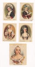 LOT OF 5 VINTAGE 1900'S TOBACCO SILKS LADY WOMEN CAMEOS ORIGINAL FINE