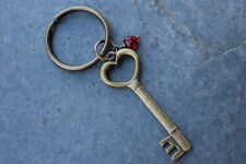 Key to my Heart keychain- antiqued brass skeleton key charm- love,  anniversary