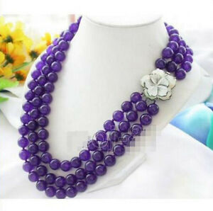 3 Rows 8mm Purple Amethyst Round Beads Necklace 17-19'' Shell Flower Clasp PN62