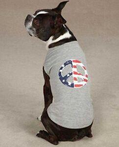 Americana Peace Flag Dog Tank Top T-Shirt XXS-XL Gray Casual Canine Tee