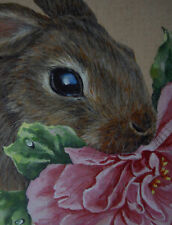 ACEO  Bunny Rabbit Hare animal Rose print