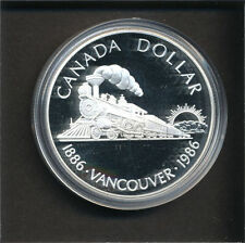 Canada 1986 Large Silver Proof $1-Vancouver-Train.