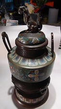 ANTIQUE 18C CHINESE LARGE CLOISONNE FOO-LION AND DEMON HEAD INCENSE BURNER
