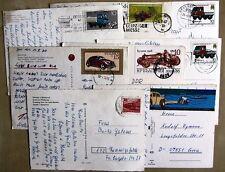 Postkarten Sammlung 8 Stück mit Briefmarken Motiv Auto Bus LKW Lastwagen Cars