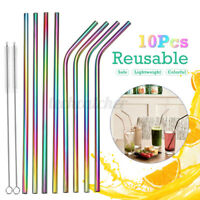 Stainless Steel Drinking Curved/Straight  Straws Metal Reusable Cleaning Brush