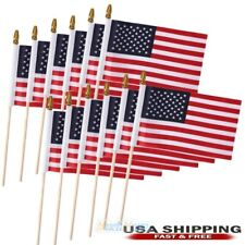 12PCs American US USA National Hand Waving Flags Small Banner 4inx6in & Poles