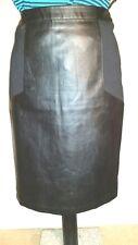 BLACK PLUS Faux Leather PU Knee Pencil SKIRT L uk14eu40us10 Waist w33ins w84cms
