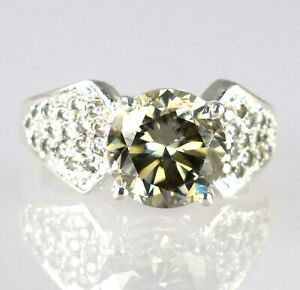 Champagne Diamond Solitaire Halo Men's Designer Style Ring 5.35 Ct White Finish