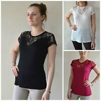 MORGAN Lace Trim T Shirt Top Burgundy, White or Black | SALE | Was £22