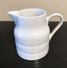 "Lord Nelson Pottery white ringed pitcher Vintage 4 3/4"" tall England Marked 5-73"