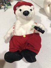 "Coca-Cola Polar Bear Fireman in Overalls with Bottle - 7"" Tall"