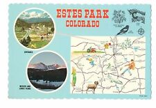 Fun Estes Park Colorado Map and Attractions Vintage 4x6 Postcard, Jul17