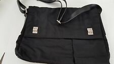 GUCCI LAPTOP/TRAVEL/MESSENGER DURABLE BLACK NYLON & LEATHER STRAP BAG-GREAT COND