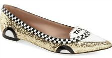 NEW Kate Spade New York Gold Glitter Black White Patent Go Taxi Flats Shoes 10