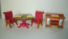 Fisher-Price Loving Family Dining Room furniture drop-leaf-Table Chairs Buffet