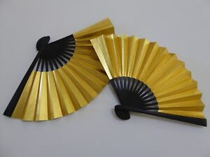 "Set of 2 Japanese 6""L Gold Display SENSU Fan Ornament"