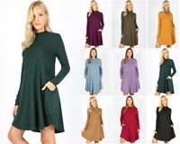 S-3X Women's Long Sleeve Knit Tunic Dress Drape Swing Trapeze Mock Neck Pockets