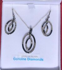 0.97ct ~ DIAMOND ~ PENDENT and EAR RINGS ~ 0.925 SILVER-BLACK GOLD PLATED