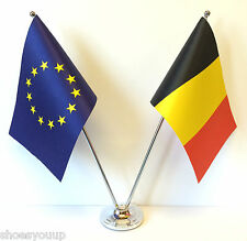 European Union EU & Belgium Flags Chrome and Satin Table Desk Flag Set