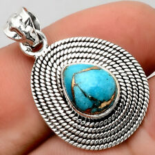 Copper Blue Turquoise - Arizona 925 Sterling Silver Pendant Jewelry 4056