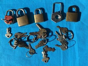 Vintage Padlock collection with keys X 5 locks few varieties.