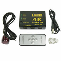 Ultra HD 4K 5 Port HDMI Switch Box Splitter 3D 1080P IR Remote Control HUB