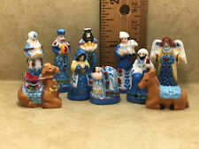 Blue Folk Art NATIVITY SET French Feves Figurine 10 pcs Porcelain Miniature