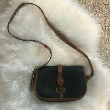 Vintage DOONEY AND BOURKE Crossbody Bag Blue/Brown All Weather Leather Saddle