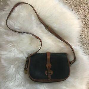 Vintage DOONEY AND BOURKE Crossbody Bag Black/Brown All Weather Leather Saddle