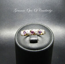 9ct Gold Amethyst and Diamond Band Ring Size L 1.7g