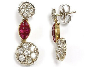 """1.5 ct tw Natural Red Ruby & Diamond 14k Two Tone Gold Flower Dangle Earrings 1"""""""