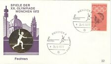 Germany 1972 Olympic Games Munich Oly. Fencing cover with Oly. Fencing cancel