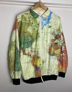 Vintage World Map Tyvek Jacket L Windbreaker DuPont Kurt Cobain USA 90s