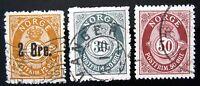 NORWAY Sc #46-2o on 12o,#55-30o & #57-50o, 1888-1907 - USED - AUG
