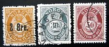 NORWAY Sc #'s 46-2o on 12o,55-30o & 57-50o, 1888-1907 - USED