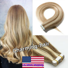 Tape in Remy Human Hair Extensions PU Skin Weft Balayage Colors 20/60Pcs USStock